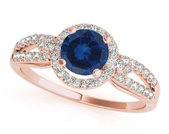 1.15 Ct. Halo Sapphire And Diamond Engagement  Ring In 14k Gold
