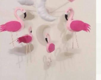 Flamingos nursery mobile, pink nursery mobile_made to order