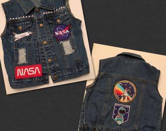 Size 3t ooak distressed studded nasa Jean vest vintage