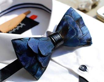 Blue Feather Bow Tie - Handmade Bird Feathers Bowtie for Men (Adjustable) / Blue Bow Ties Wedding Groomsmen Dad Father / Formal Necktie
