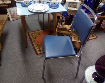 Vintage 1950s - 60s Chrome Framed Vinyl Padded Kitchen  Chair In A Striking Nordic Shade Of Aquamarine