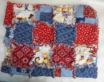 """Toddler Boy Cowboy rag quilt, travel blanket, daycare naptime blanket 46 x 36"""""""