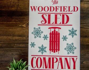 "12""x18""   Customized Sled Company  - Wood Sign"