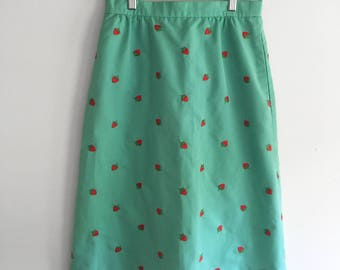 Vintage Strawberry Embroidered Mint Skirt with Pockets