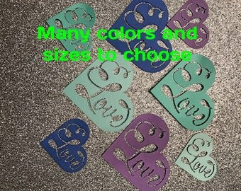 50 paper cut out love heart- select color and size