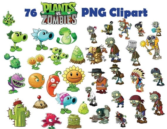 Instand DL 76x Plants VS Zombies Clipart Printable Digital