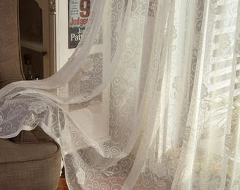 110 Width Cream White Fabric Window Curtains Embroidered Lace