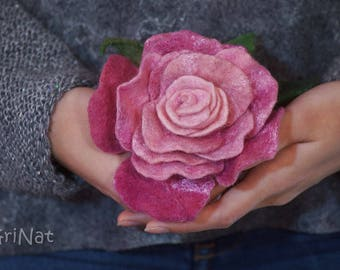 "Felted Brooch""Pink Rose""Felted Jewelery Exclusive gift for her Wool Rose Felted Pink Rose with silk fibres Handcrafted felting brooch GriNat"