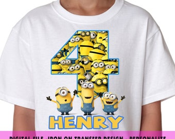 Minions Iron On Transfer , Minions Birthday Shirt DIY , Boy Birthday Shirt DIY , Iron On Transfer , Digital File , Personalize Name and Age