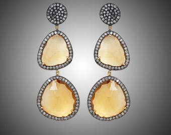 Diamond Earrings with Citrine