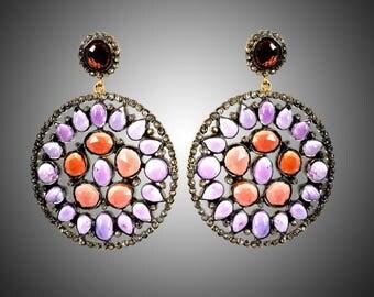 Diamond Earrings with Amethyst and Garnet