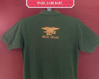 Vintage Polo Ralph Lauren Tshirt Seal Team Shirt Spellout Shirt Green Army Colour Size M Polo Ralph Lauren Shirts Camo Shirts Navy Shirts