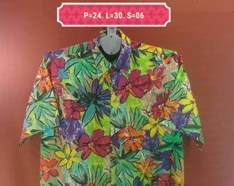 Vintage Hawaiian Shirt Pau Hana Shirts Flower Fullprint Rainbow Colour Size L Hawaiian Shirt Sun Surf Shirt Aloha Floral Abstract