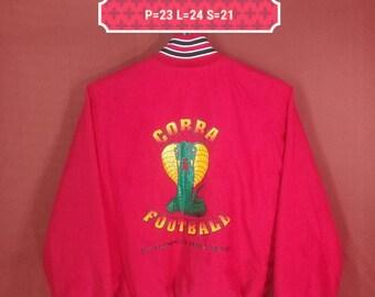 Vintage Cobra Football Jacket Bomber USA Shirt Spellout Big Logo Red Colour Size M Comme des Garcons Yohji Yamamoto Issey Miyake Blazer Coat