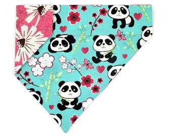 Spring Dog Bandana-Pandas & Spring Flowers-Easter–Reversible–Slides on Collar