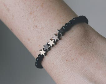 Black and Charcoal Star Beaded Bracelet