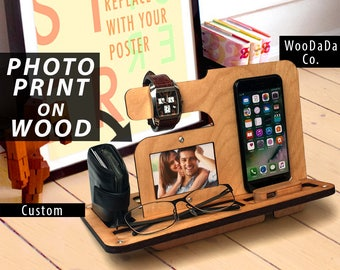 Charging Station Dock iPhone Stand Android Gift for Her gift for Men Women gift Wedding Bride Groom gift Boyfriend Integrated USB Charger