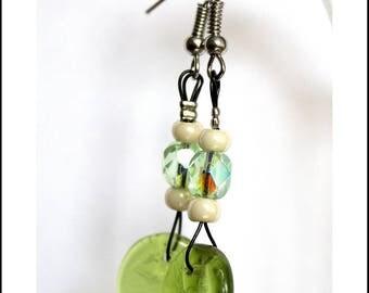Nature earrings green/cream