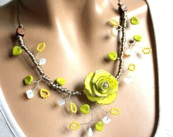 Yellow and green flower romance necklace cold porcelain