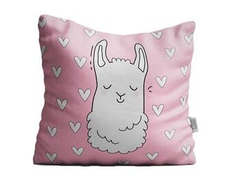 Pillow square llama lama pillow bedding pillow throw pillow decorative pillow llama pillow kawaii hearts japan doodles cute