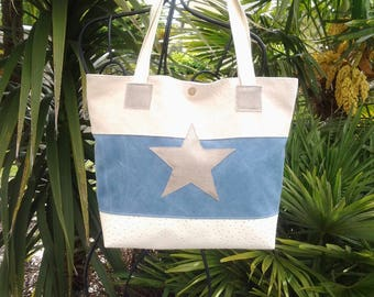 Tote bag canvas and faux ostrich