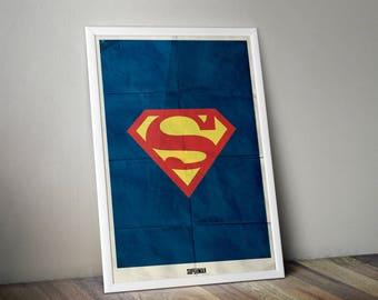 Superman Minimalist Print - DC Superman Poster Print, Superman Film Wall Art, Justice League Superman Minimalist Art Print