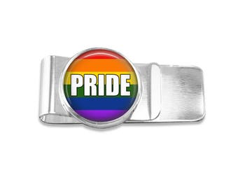 Gay Pride money clip lgbt money clip rainbow money clip wedding party gift mens money clip custom photo money clip groomsmen gift