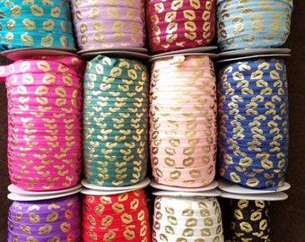 BY THE YARD Ribbon- Gold Lips- Wholesale - Lipsense  foe Fold over Elastic, Black, Pink, Navy, Purple, etc.