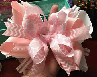 Pink & White Boutique Hairbow
