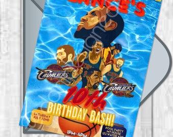 Cleveland Cavaliers Digital Birthday Party Invitation