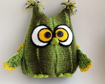 Pillow-toy owl, Knitted Pillow, Olive, Owl Stuffed Toy, gift man, gift child