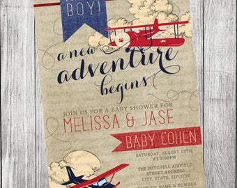 Vintage Airplane Baby Shower Invitation
