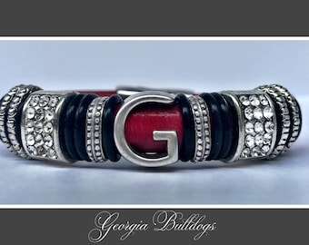 Georgia Bulldog Leather Bracelet