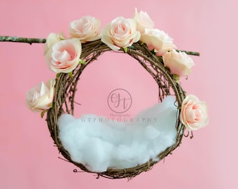 Newborn Digital Backdrop/Hanging Floral Wreath Digital Backdrop/Valentine Newborn Digital Backdrop