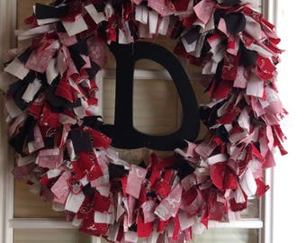 """20"""" Rag Wreath With Initial"""