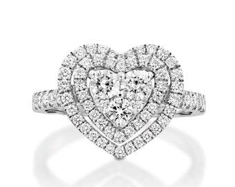 0.9 Ct Diamond Hearts Ring, pave diamond ring  18k white gold size 4-9