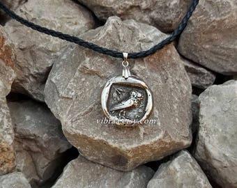 Greek Owl & Goddess Athena Reversible Coin Necklace Pendant
