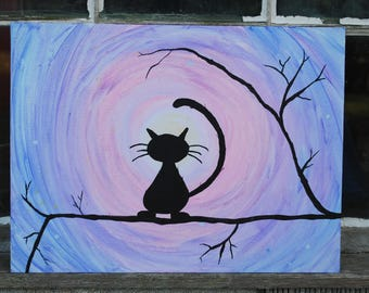 Cat Silhouette Acrylic Painting 12x16