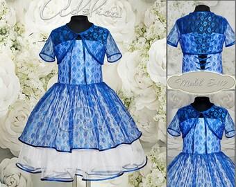 Royal Blue Knee length Lace Flower Girl Dress with bolero-Birthday Wedding Party Holiday Bridesmaid Flower Girl Blue Lace Dress S-112