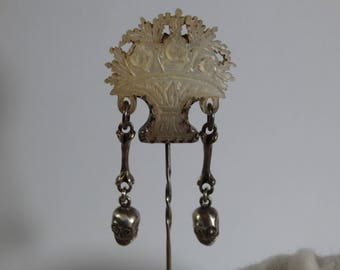 Museum Quality Antique Silver Pin/Brooch-Memento Mori/Mourning Skulls-Mother Of Pearl & Diamonds-Victorian Era-19th Century