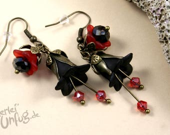 Earrings - black/red flowers, Lucite flowers, vintage, elegant, filigree, glass beads, red, black bronze, unique, handmade