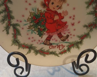 Lefton China Hand Painted Christmas Plate Christy
