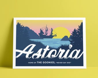 Goonies Print – 5x7 Postcard, Astoria, Goonies Illustration, Goonies Gift
