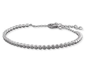 Maid's Rubover Cubic Zirconia Cuff with Chain Sterling Silver Bangle