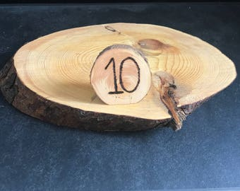Rustic Wood Disc Centerpiece with Table Numbers