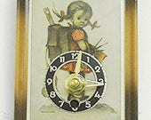 """HUMMEL """"School Girl"""" Novelty Wall Clock, German, battery operated, reconditioned"""