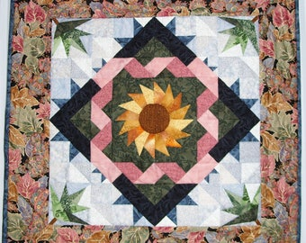 "Quilted Sunflower Wall Hanging in Gold, Blue, Pink and Green 24"" x 24"""