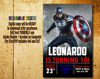 Captain America Invitation,Captain America Birthday,Captain America Party,Captain America Card,Captain America Editable,Captain America_BF14