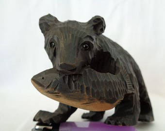 VJ155 : Vintage japanese Ainu Hokkaido carving wood HIGUMA Bear Catch Salmon