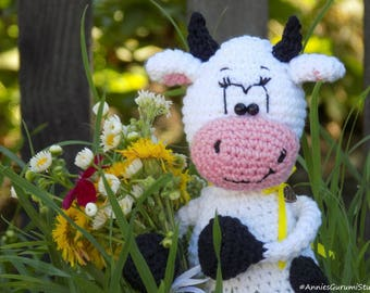 Cow Amigurumi, Crochet Cow Stuffed Animal, Kids Toy, Nursery Toy, Cow Plush Amigurumi Crochet Stuffed Animal, Baby Sleeping Toy